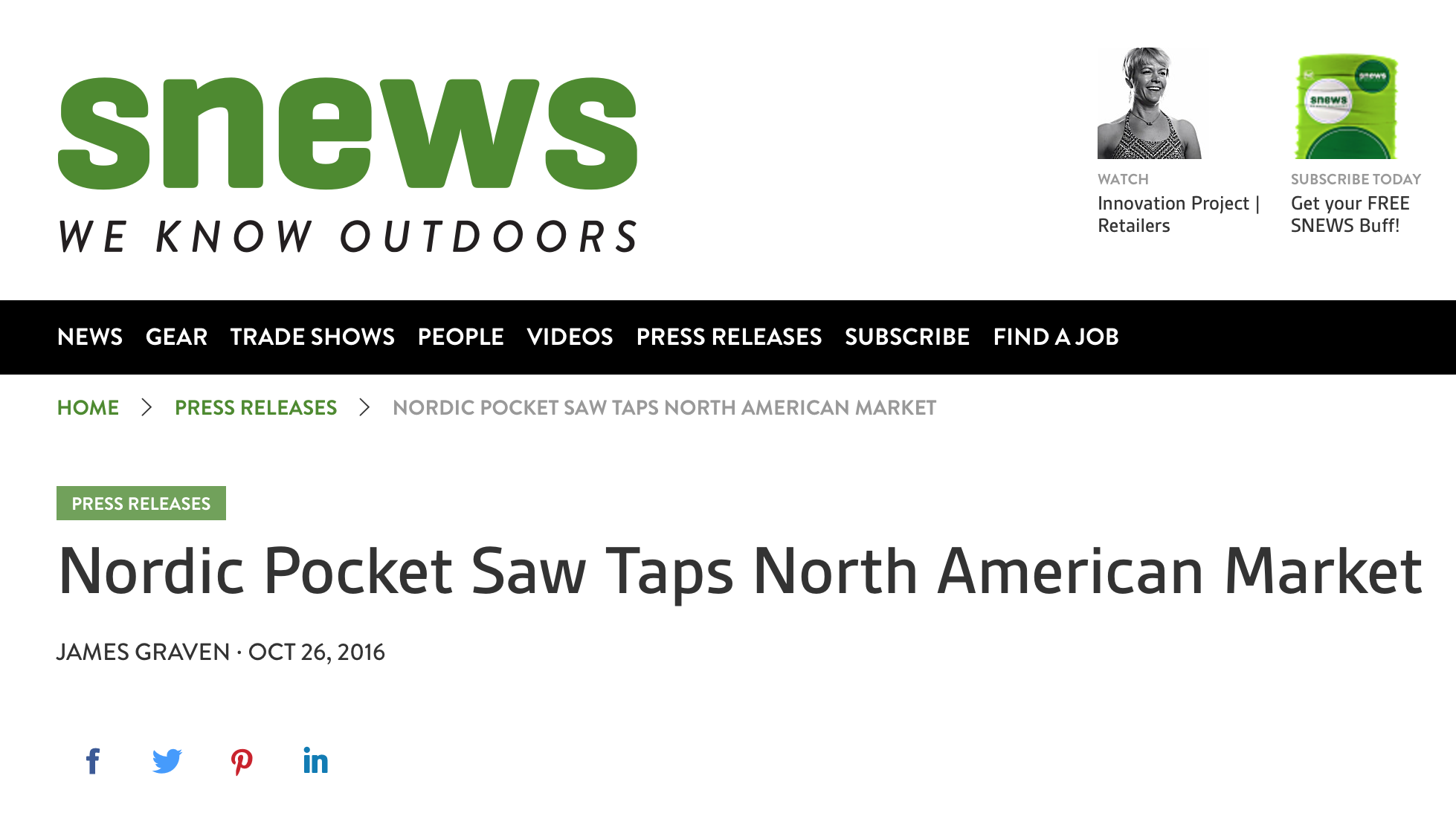 Nordic Pocket Saw Taps North American Market